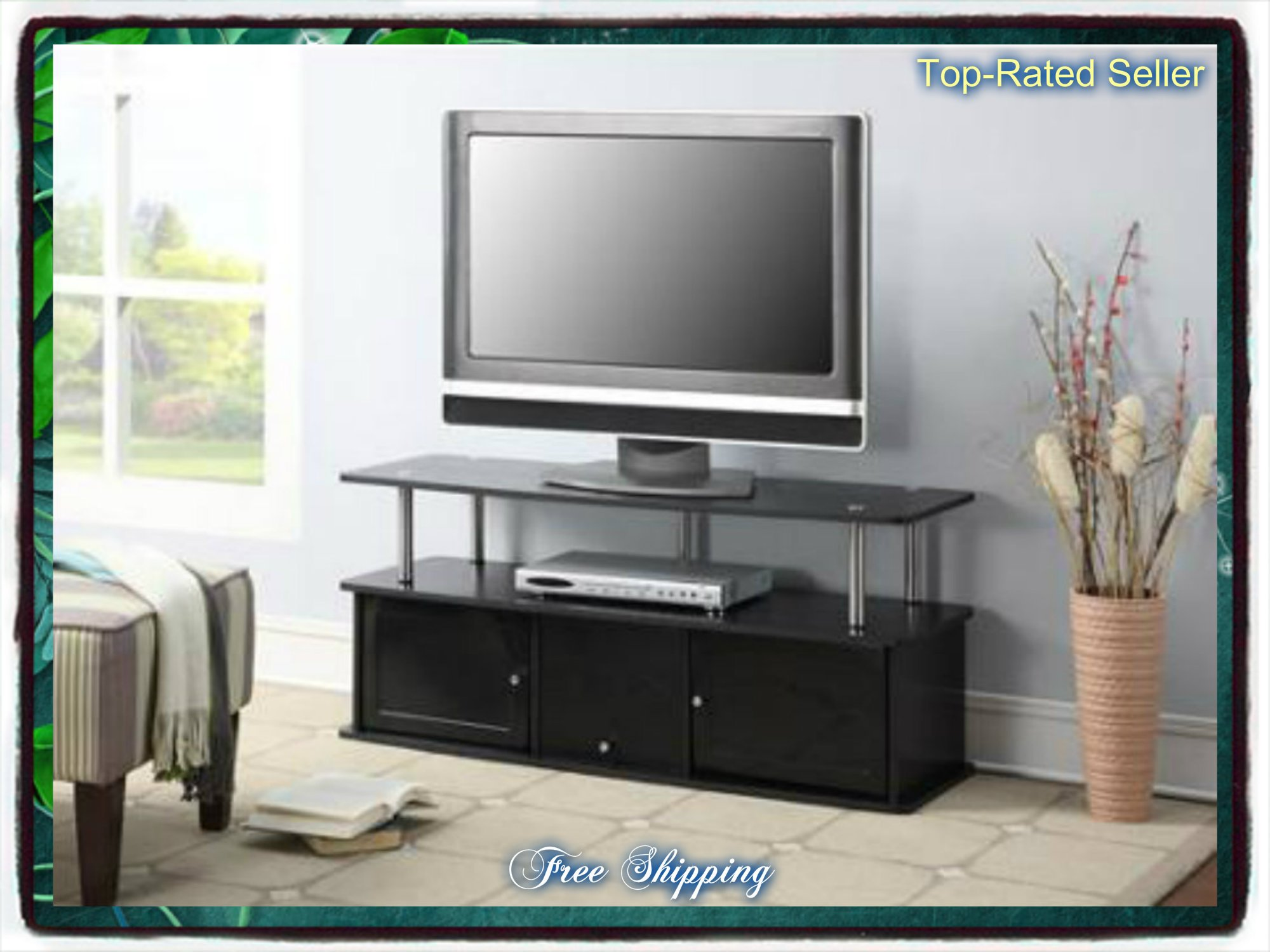 Black Tv Stand Media Entertainment Center 42 50 60 Inch Flat Screen Television Console Storage Furniture Cabinet Wood Home Modern 3 Cabinets Theater Shelf Shelves Television T.v. New Guarantee - It Comes Only Along with Our Free Ebook by Skroutz