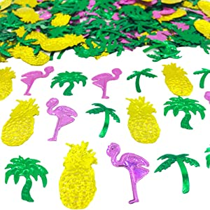 Summer Confetti Palm Tree Coconut Tree Flamingo Pineapple Fruit Sequins Party Table Decoration for Tropical Luau Hawaiian Jungle Beach Wedding Theme Island Party(1.5Ounce,1100Pieces)