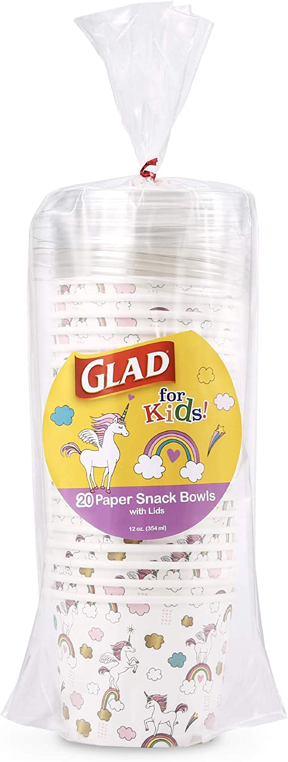 Glad for Kids Dinosaur Paper Cups, 20 Count - 6 Pack White Paper Cups with Dinosaur Design for Kids Heavy Duty Disposable Paper Cups for Everyday Use and All Occasions, 9 Ounces