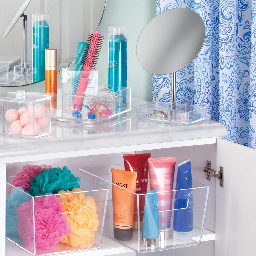 mDesign Dispensador de algodones con tapa - Práctica caja de almacenaje para bastoncillos o discos desmaquillantes - Ideal como organizador de baño o en el ...