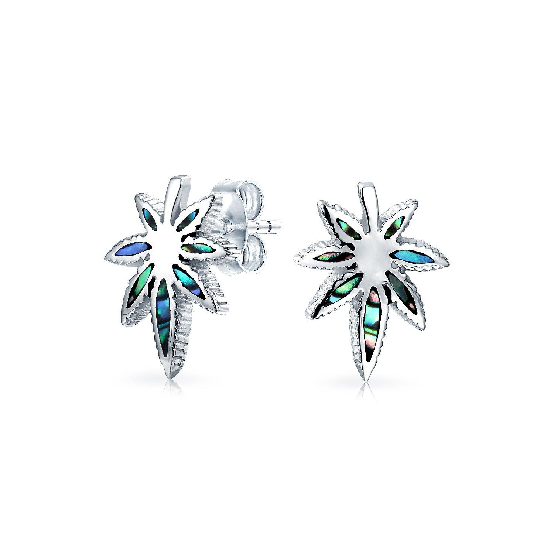 Bling Jewelry .925 Silver Abalone Shell Marijuana Leaf Stud Earrings EAM-TSD5470-ABL