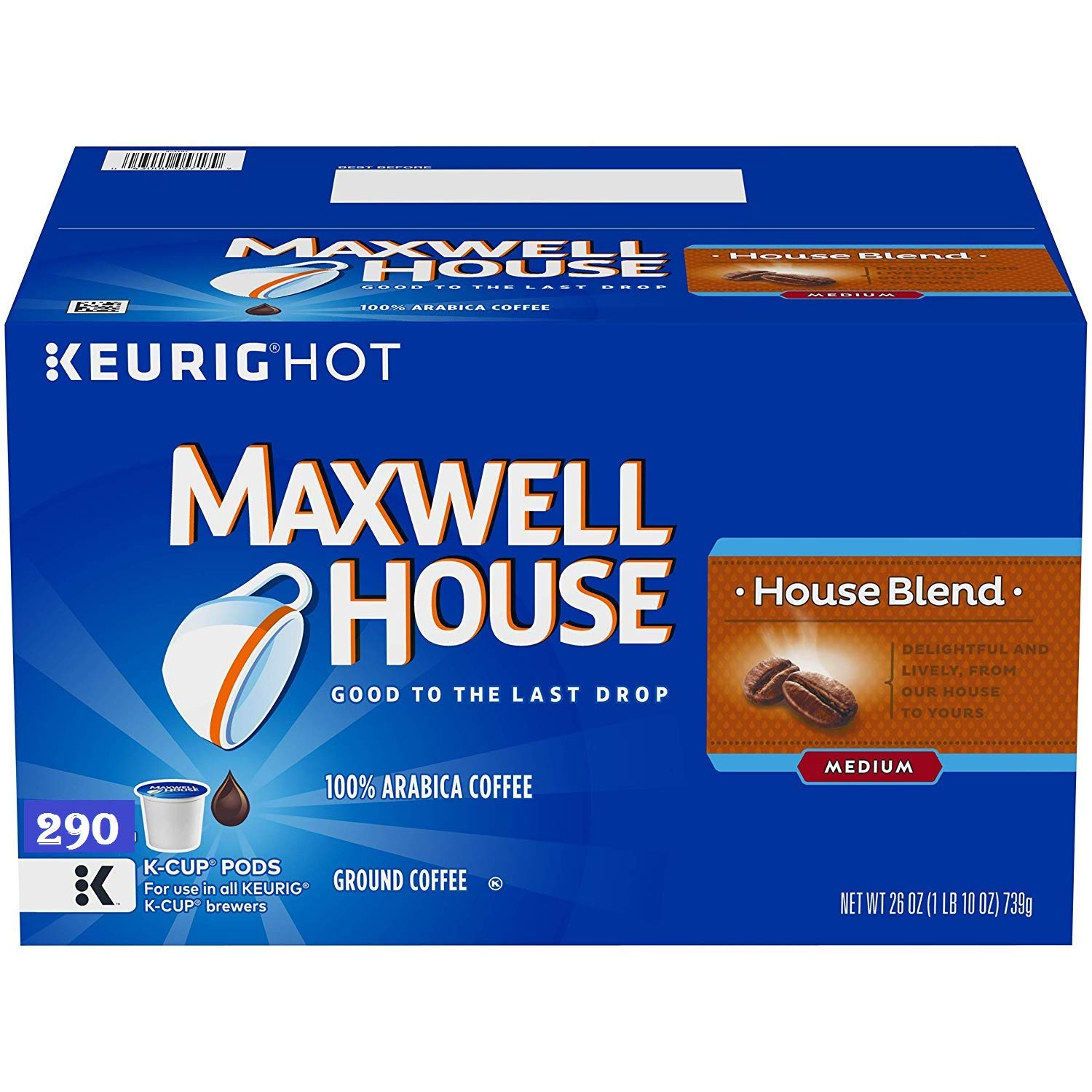 Maxwell House House Blend K-Cup Coffee Pods, 290 ct Box (290 ct) by MAXWELL HOUSE (Image #1)