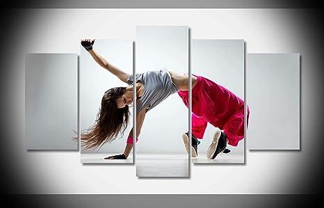Amazoncom Mcanvas 5pcs Hip Hop Dance Girl Wallpaper Canvas Print