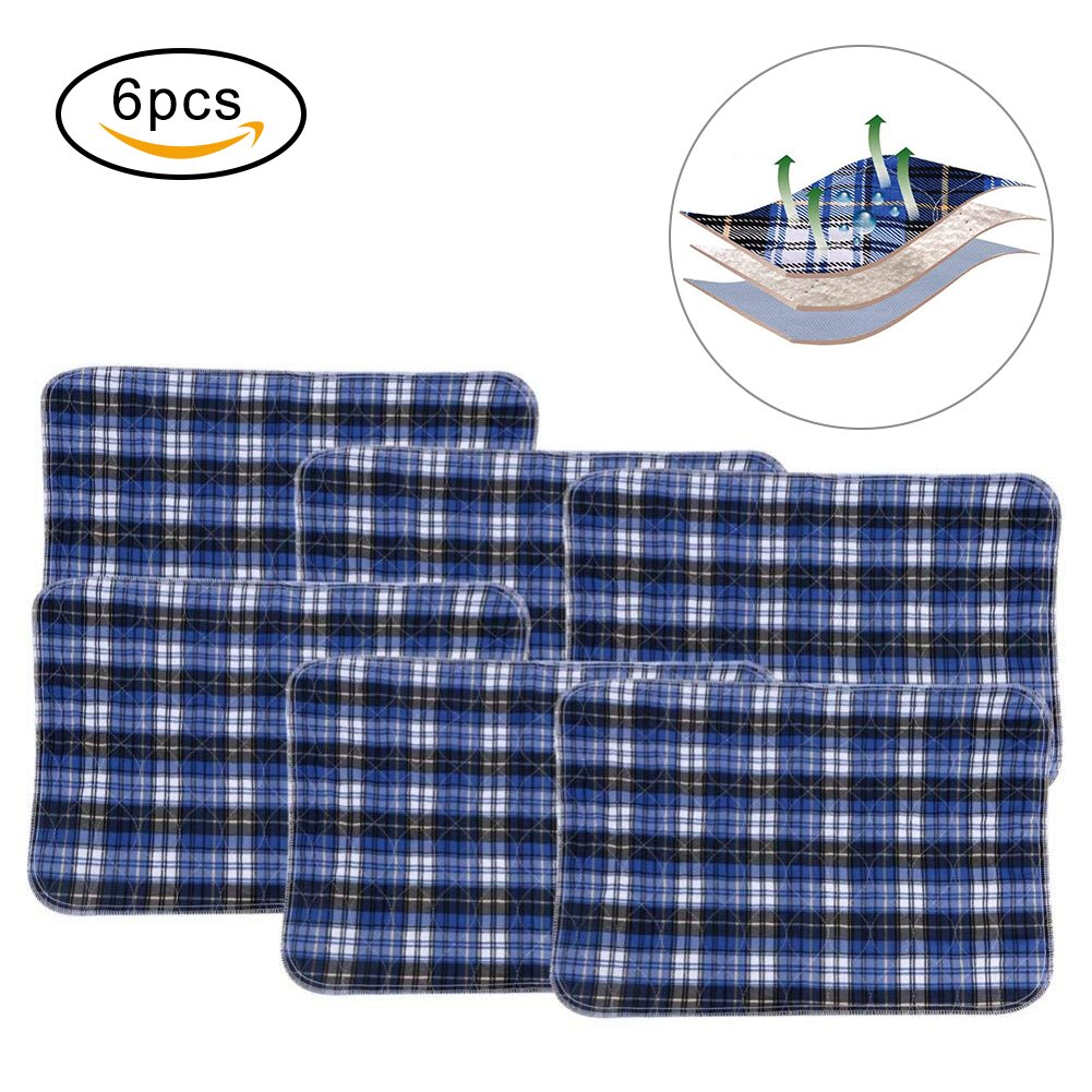 Reusable Washable Changing Mat, An Adult Incontinence Absorbing Pad Blue Grid (45 * 60cm) (3pcs) Yotown