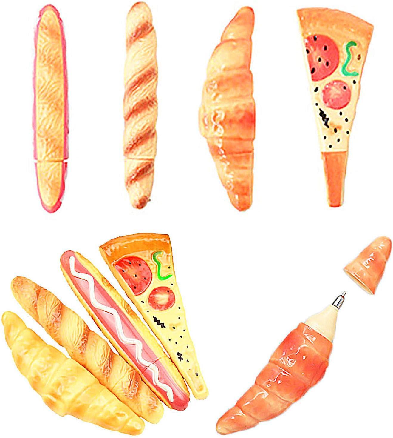 LiLiy Simulation Fast Food Black Ballpoint Pen 4Pcs,Replaceable Refill 0.5mm,Baguette Hot Dog Pizza Croissant Fridge Magnet,4.96-5.75in