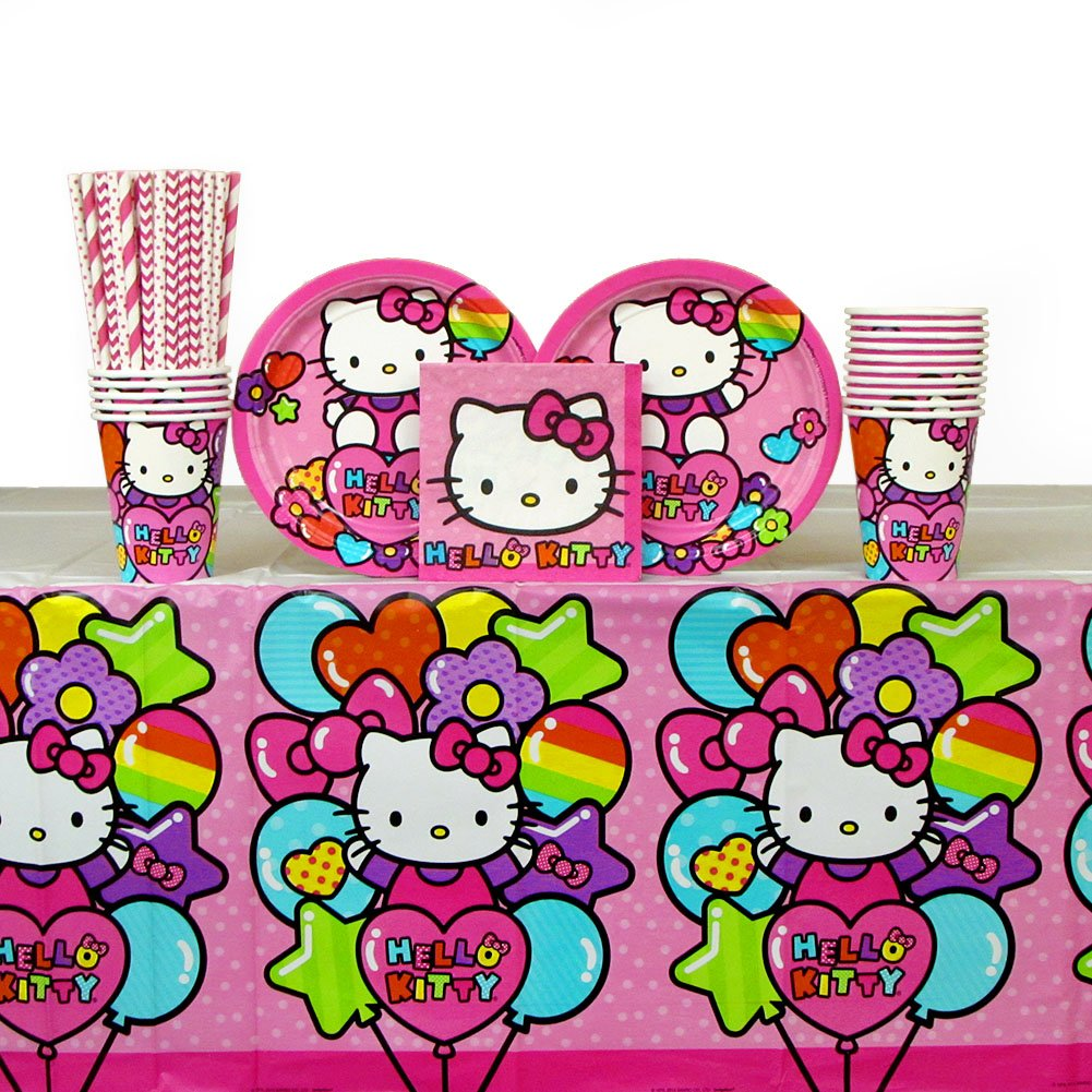 Hello Kitty Party Supplies Pack for 16 Guests Includes: Straws, Dessert Plates, Beverage Napkins, Cups, and Table Cover (Bundle for 16)
