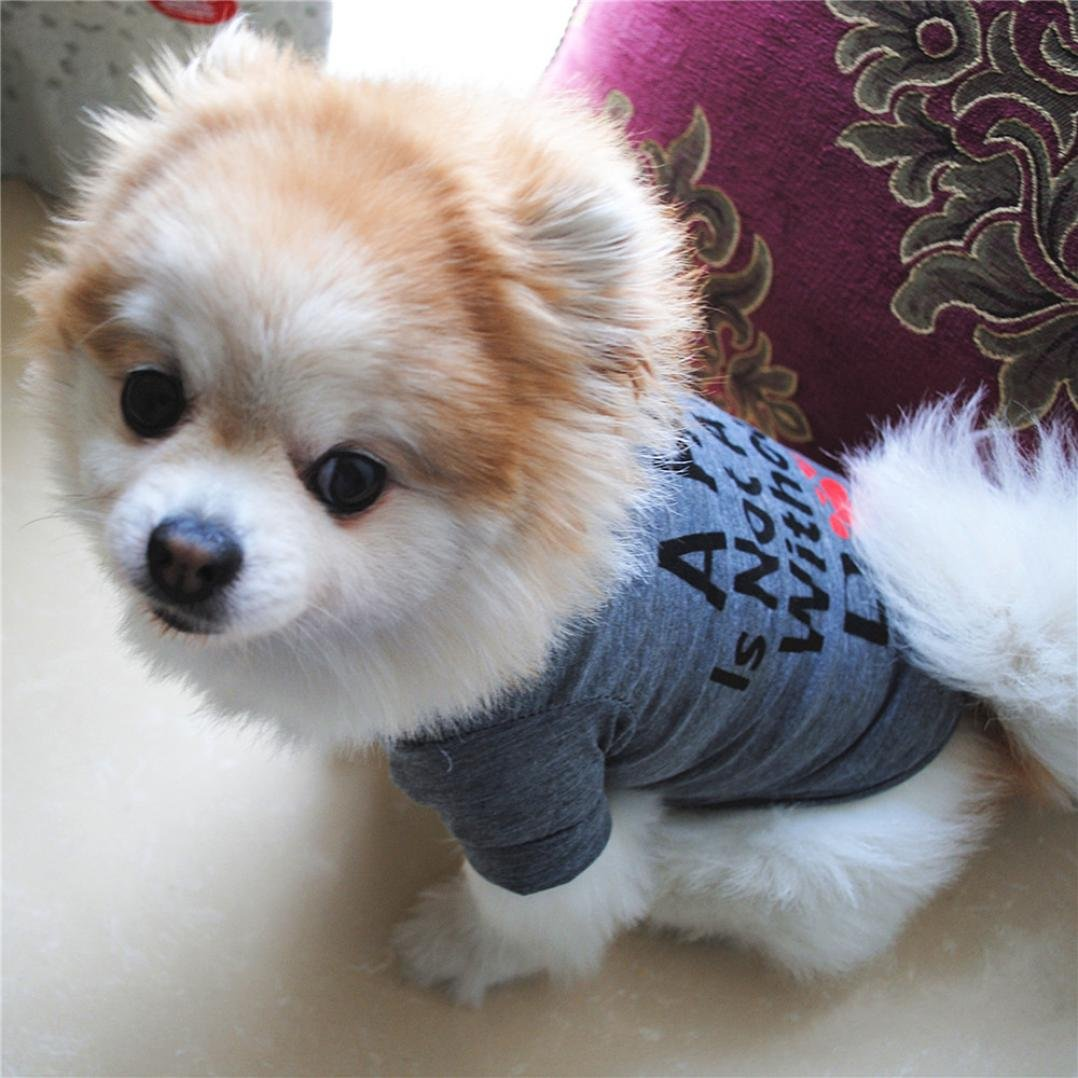 Hot Sale!!Small Dog Cat Pet Puppy Summer Shirt Clothes Vest T-Shirt (XS, Gray B) by Woaills (Image #2)