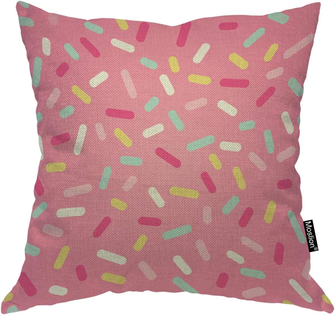 Moslion Sprinkle Donut Throw Pillow Cover Colorful Sweet Cute Lovely Food Cupcake Dessert Square Pillow Case Cushion Cover for Home Car Decorative Cotton Linen 18x18 Inch