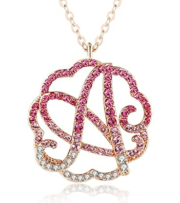 53a67051ac64 GEMMANCE Initial Monogram Necklace-Personalized Alphabet Name Necklaces for  Women Girls Letter Swarovski Zirconia Pendant Rose Gold Plated Jewelry  Gifts for ...