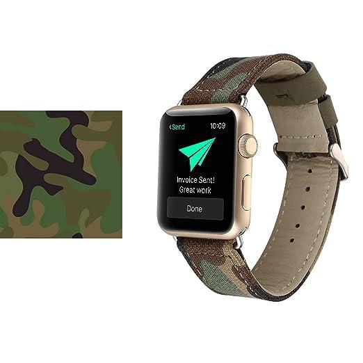 4 opinioni per Cinturino Apple Watch, Sumgar® Denim Tessuto 42mm in Pelle iWatch Cinghia della