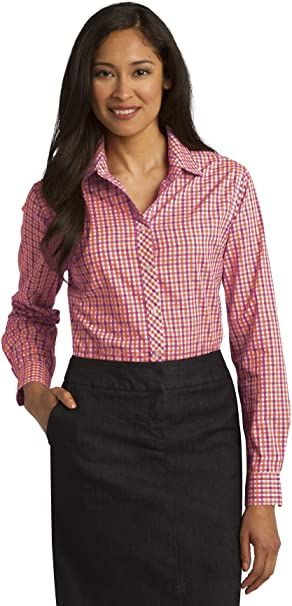 TALLA M. Port Authority Womens Long Sleeve Gingham Easy Care Shirt (L654)
