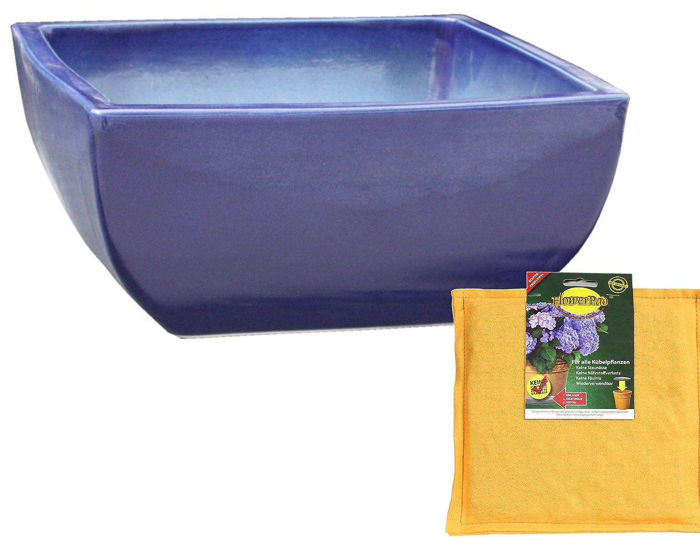 Spar Set: Keramik Pflanzschale Grabschale inclusive FlowerPad Profi Drainage-Sytem quadratisch frostfest Größe 50 x 50 x 21 cm, Farbe effekt blau, Form 220.050.64 mit Bodenloch - Qualität von Hentschke Keramik