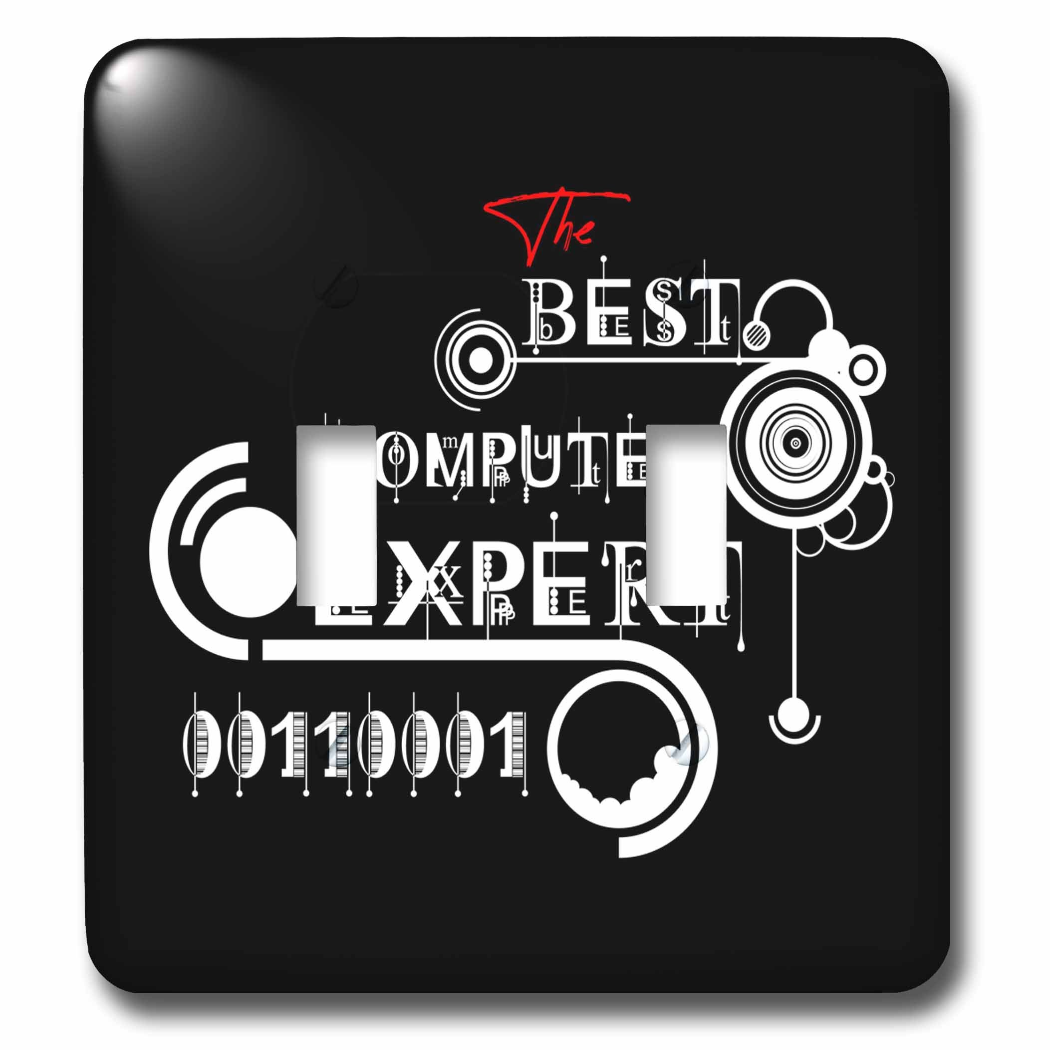 3dRose Alexis Design - Best Professional Ever - Decorative text The Best Computer Expert, modern shapes on black - Light Switch Covers - double toggle switch (lsp_286486_2)
