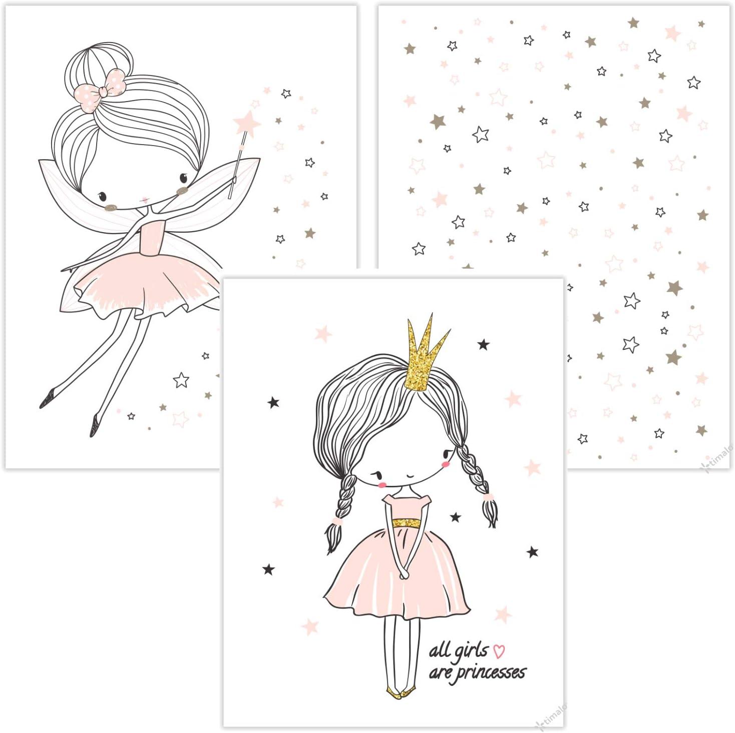 timalo® Juego de 3 imágenes para habitación de niños - Juego de imágenes de princesa, estrellas y hada en color rosa pastel P-3er-set-004 Talla:A4 (21x29cm)