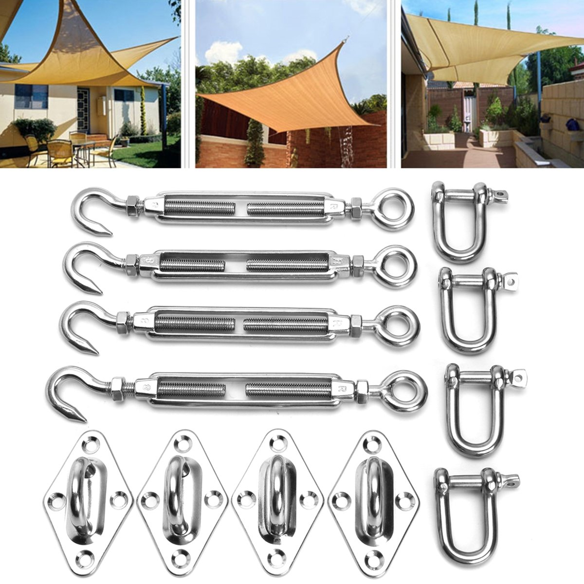 KINGSO 12pcs 8mm Stainless Steel Sun Shade Sail Accessory Kit Four Wall Fixing Mounting Marine Grade Shade Sail Hardware Kit Triangle Sun Shade Sail Installation 1500 LB by KingSo