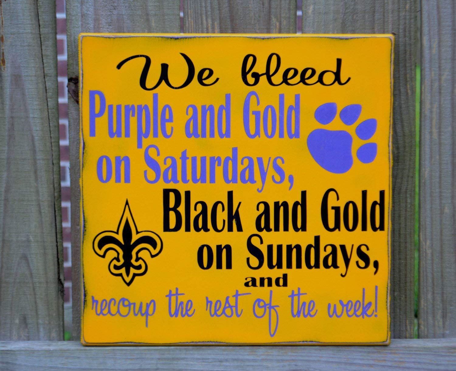Ruskin352 LSU Tigers New Orleans Saints Football Custom Wood Sign Geaux Tigers Football Sign Man Cave