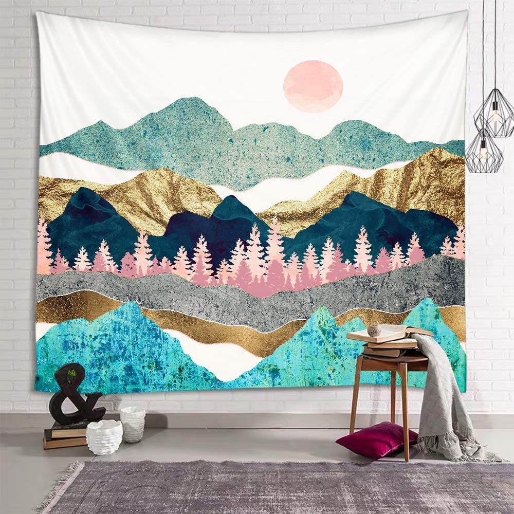 "Sevendec Blue Mountain Tapestry for Bedroom Wall Tapestry Sunset Nature Forest Tapestry Indie Room Decor for Livingroom Dorm Home W90"" x L71"""