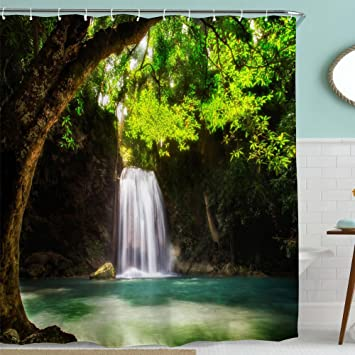 Green Nature Shower Curtain FabricSpring Tree Forest Waterfall Natural Scenery Decor Bath