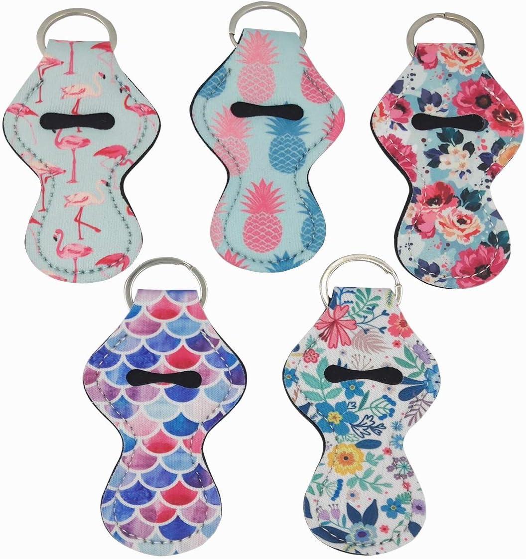 Style 4# D-Worthy 5 Pieces Cute Neoprene Flowers Pattern Chapstick Holder Keychains Lip Balm Keyring Holder