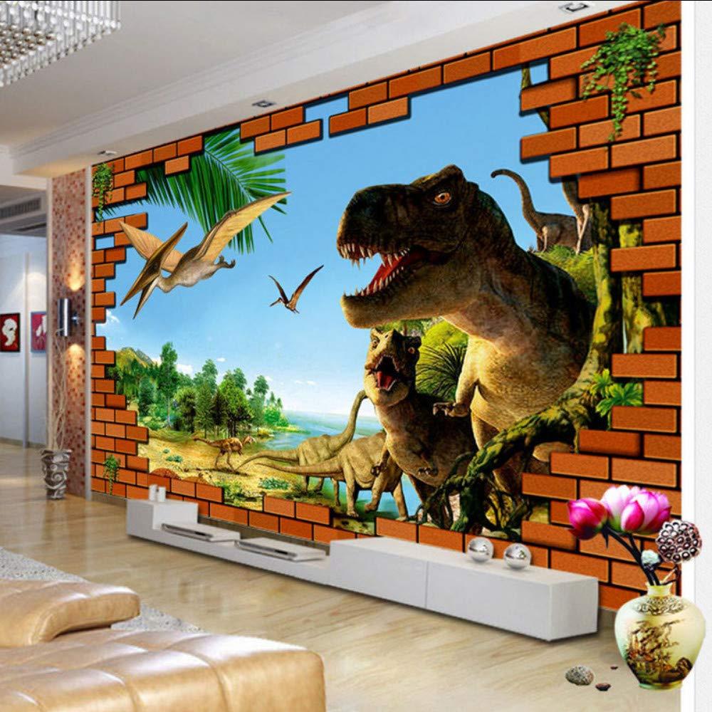 Mural de dibujos animados en 3D Dinosaurio Pared de ladrillos rotos Papel tapiz Habitació n para niñ os Sala de estar Contexto Decoració n Ecoló gico Fondos no tejidos 3D koyiyo-120X100CM