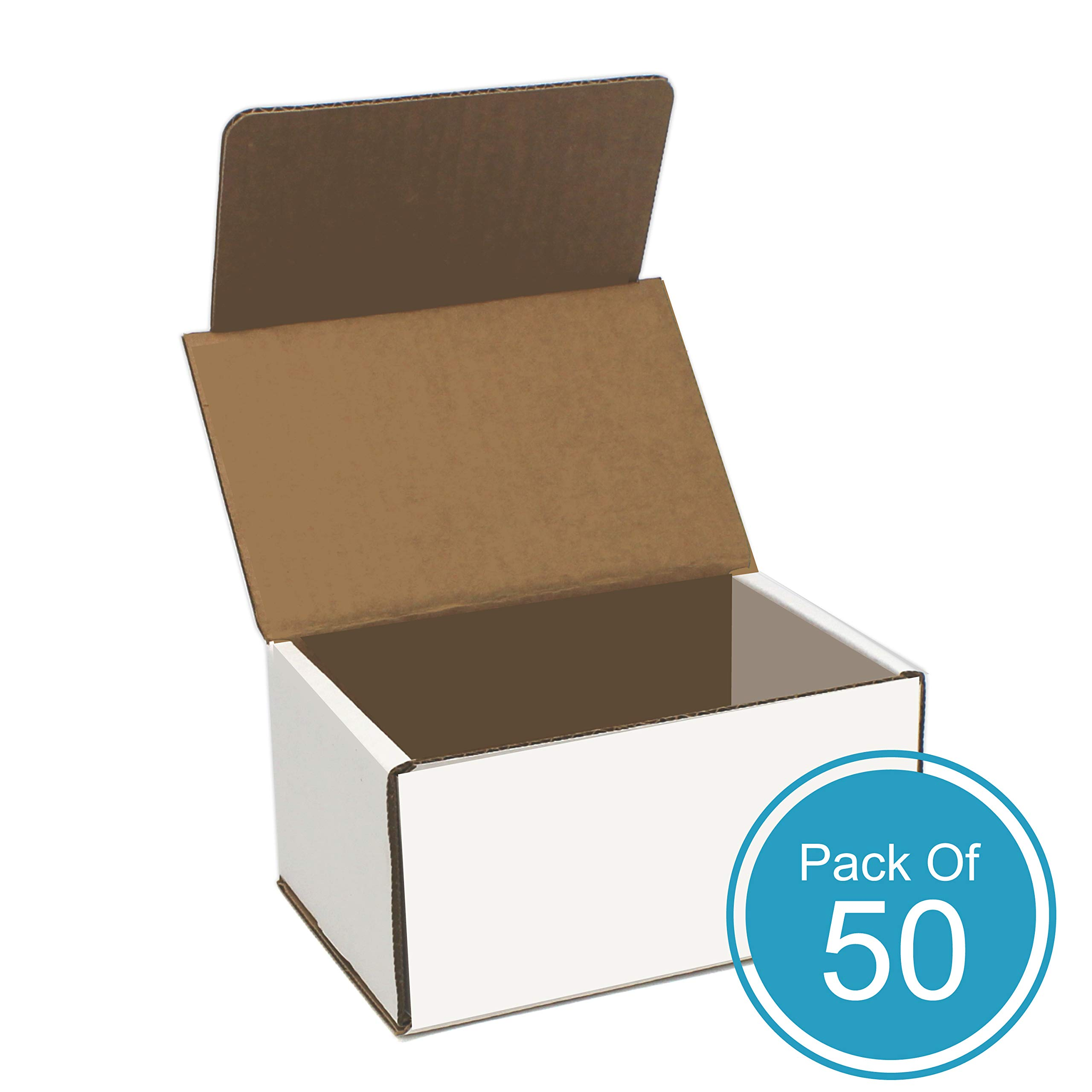 HTTP White Cardboard Shipping Boxes, 6L x 4W x 3H, White Corrugated, Pack of 50 Small Cardboard Boxes