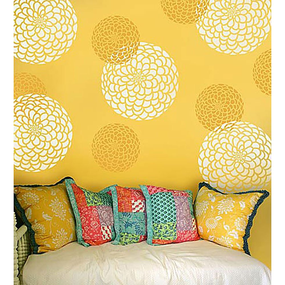 Flower Stencil Zinnia Grande size - Large - Reusable wall stencils ...