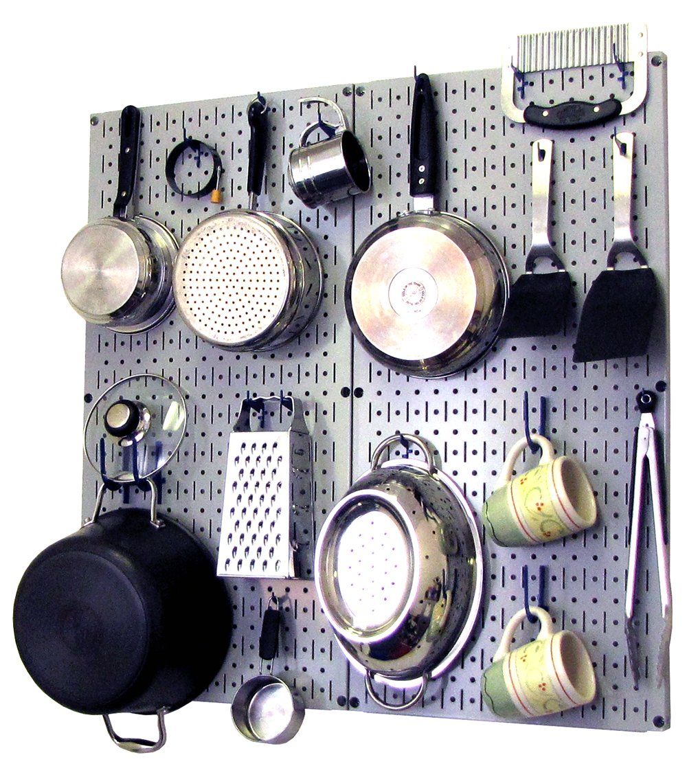 Wall Control Kitchen Pegboard Organizer Pots and Pans Pegboard Pack Storage and Organization Kit with Black Pegboard and Blue Accessories
