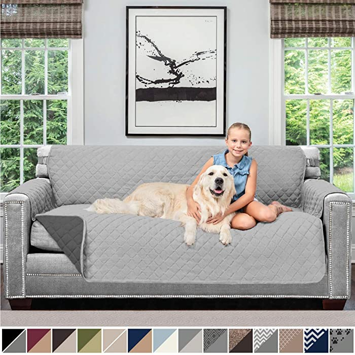 Sofa Shield Original Patent Pending Reversible Sofa Slipcover, 2 Inch Strap Hook, Seat Width Up to 70 Inch Furniture Protector, Couch Slip Cover Throw for Pets, Kids, Cats, Sofa, Light Gray Charcoal