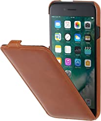 "StilGut UltraSlim Case, custodia verticale in pelle cover per iPhone 7 Plus & iPhone 8 Plus (5,5""). Chiusura clip in alto Flip-Case in vera pelle, Cognac"