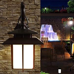 Wylolik American Classic Glass Wall Light Lantern Rustic Outdoor Waterproof Single Head Wall Lamp Spotlight Garden Decoration Fence Gate Patio Yard E27 Antique Decorative Modern Villa Wall Sconce