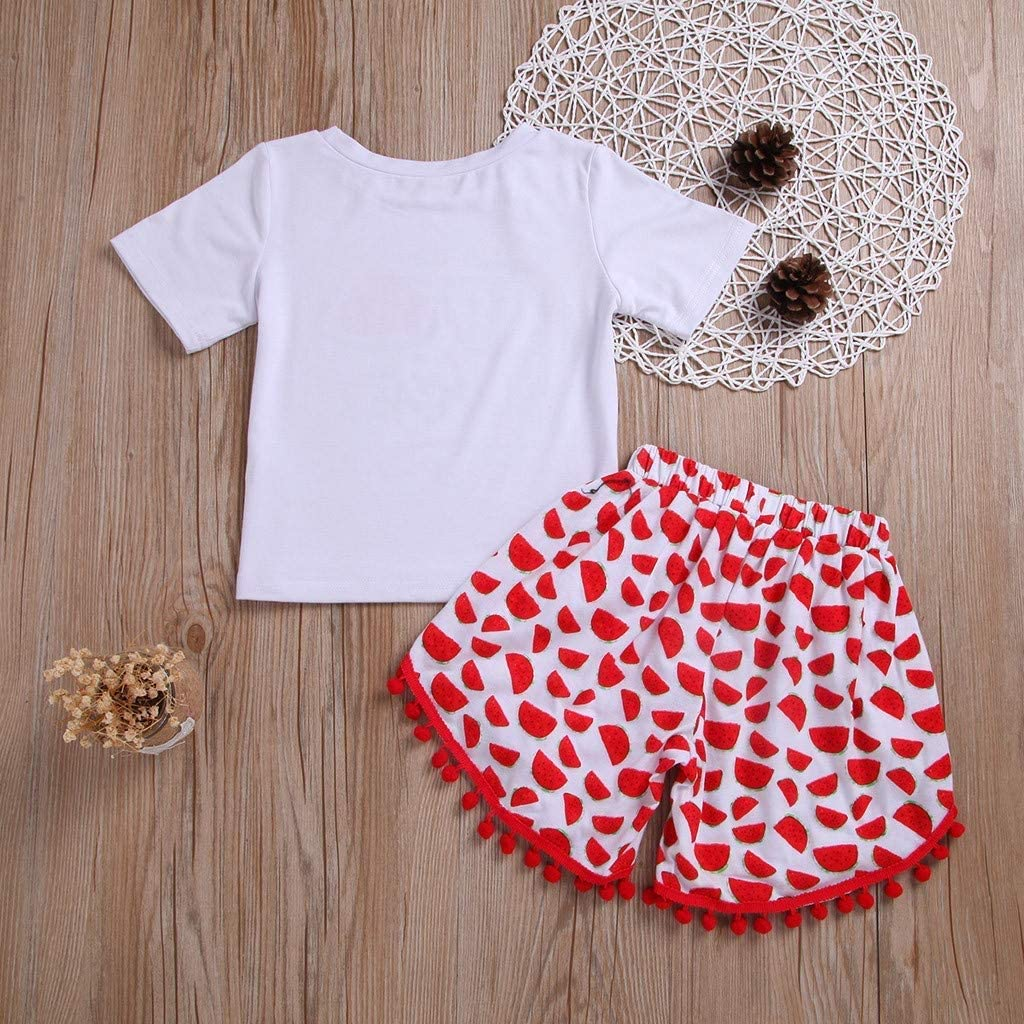 FCQNY Baby Girls Summer Outfits Set Cotton Tee Tops+Baby Short Pants Pajamas Color : White, Size : 140