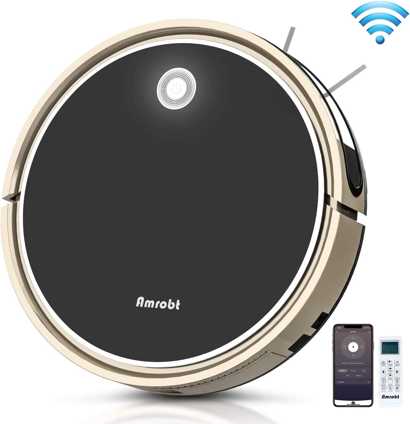 Amrobt Robotic Vacuum Cleaner, 2 in 1 Robot Vacuum and Mop, Wi-Fi Connected/Remote Control, 1600Pa Strong Suction, Self-Charging Robot Vacuum Cleaner for Carpet & Hard Floors
