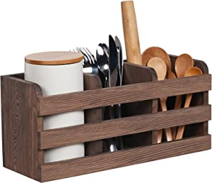 Wood Utensil Holder Farmhouse Kitchen Cooking Utensil Organizer for Countertop with 3 Compartments Wall-Mounted Large Wooden Cutlery Holders Spatula Caddy Box Vintage Utensil Crock Can, Brown