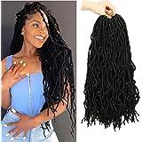 18 Inch 6 Packs Soft Locs Crochet Hair Faux Locs Crochet Hair Pre-Looped Soft Goddess Locs Curly Wavy Crochet Braids Hair for