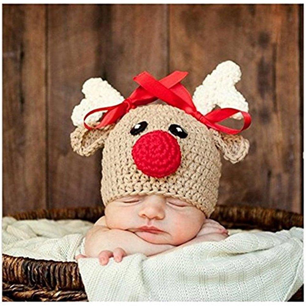 maschi e femmine Cappello a forma di cervo realizzato alluncinetto da usare per i servizi fotografici dei neonati