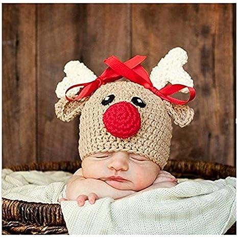Bebé recién nacido fotografía apoyos niño Niña Gorro de Crochet para adulto, diseño de ciervo