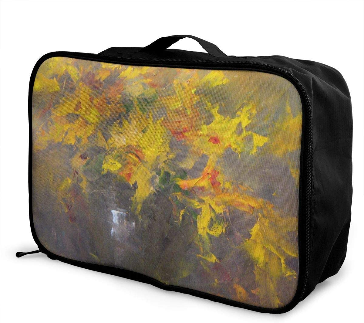 Travel Bags Yellow Artwork Portable Suitcase Trolley Handle Luggage Bag