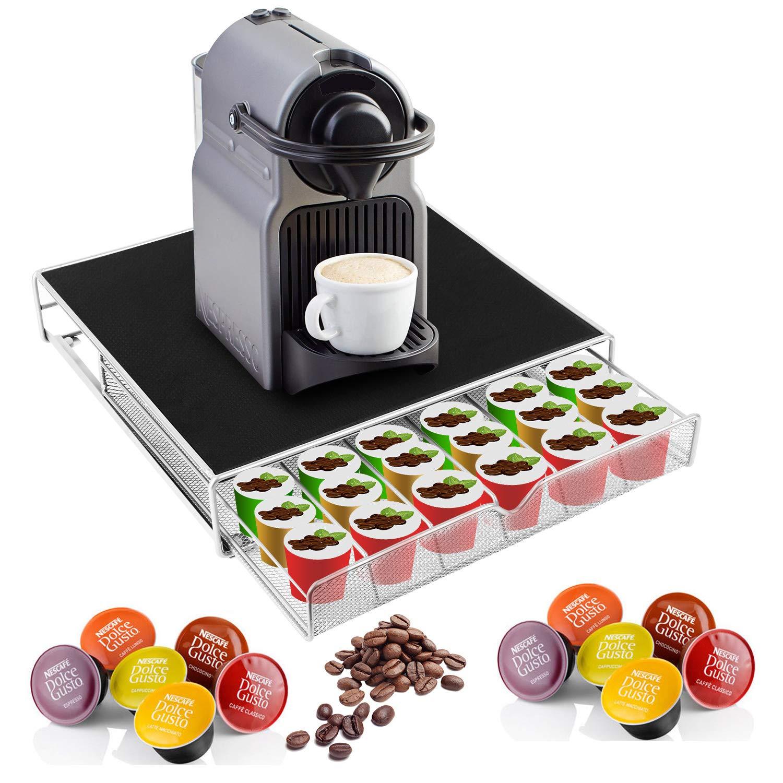Moclever Stylish Coffee Machine Stand Tassimo 36 Coffee Pod Holder Capsule Pod Storage Holder with Mesh Drawer, Anti Vibration & Non-Slip Feet, Silver/Black