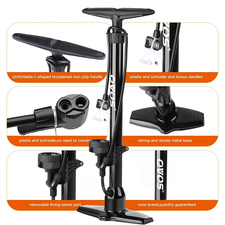 OVOS Metal Soporte de Alta presi/ón medidor de presi/ón de Bomba hasta 12 Bar Bomba de Bicicleta-conexi/ón de Manguera multiv/álvula Soporte Bomba de Aire-Incluyendo Conjunto de adaptadores