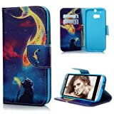 HTC One M8 Case Cover - Lanveni PU Leather Wallet Flip Cover Bookstyle Cell Phone Hoslter with Printing Design & Magnetic Closure & Card Slots & Stand Function Protective Cover for HTC One M8 , Pattern-9