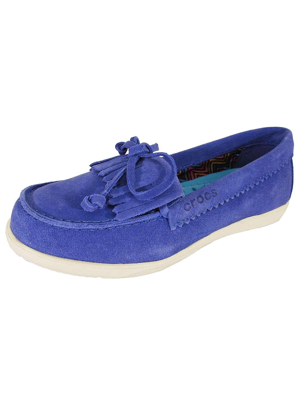 Crocs Adela Mocasines de Ante para Mujer, Azul (Cerulean Blue/Stucco), 34 EU: Amazon.es: Zapatos y complementos