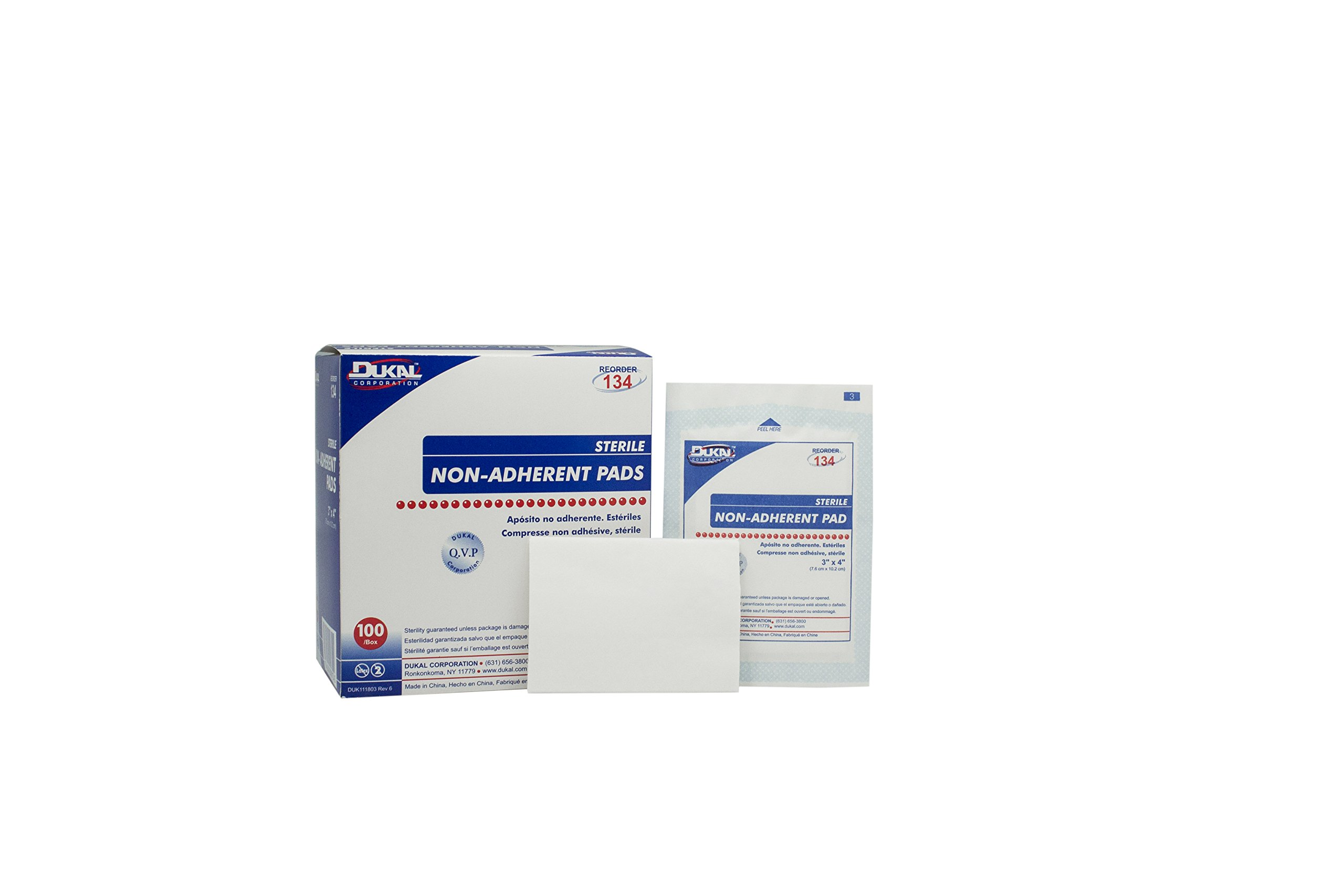 Dukal 134 Pad, Non Adherent, Sterile, 3'' x 4'' (Pack of 1200)
