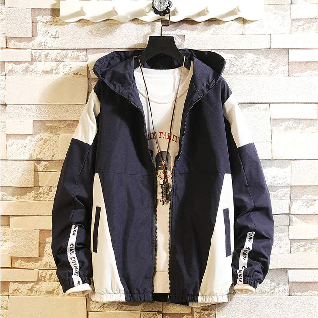 Navy//Black//Gray Fullyday Mens Autumn Jacket Hoodie Casual Fashion Color Collision Light Zipper Coat