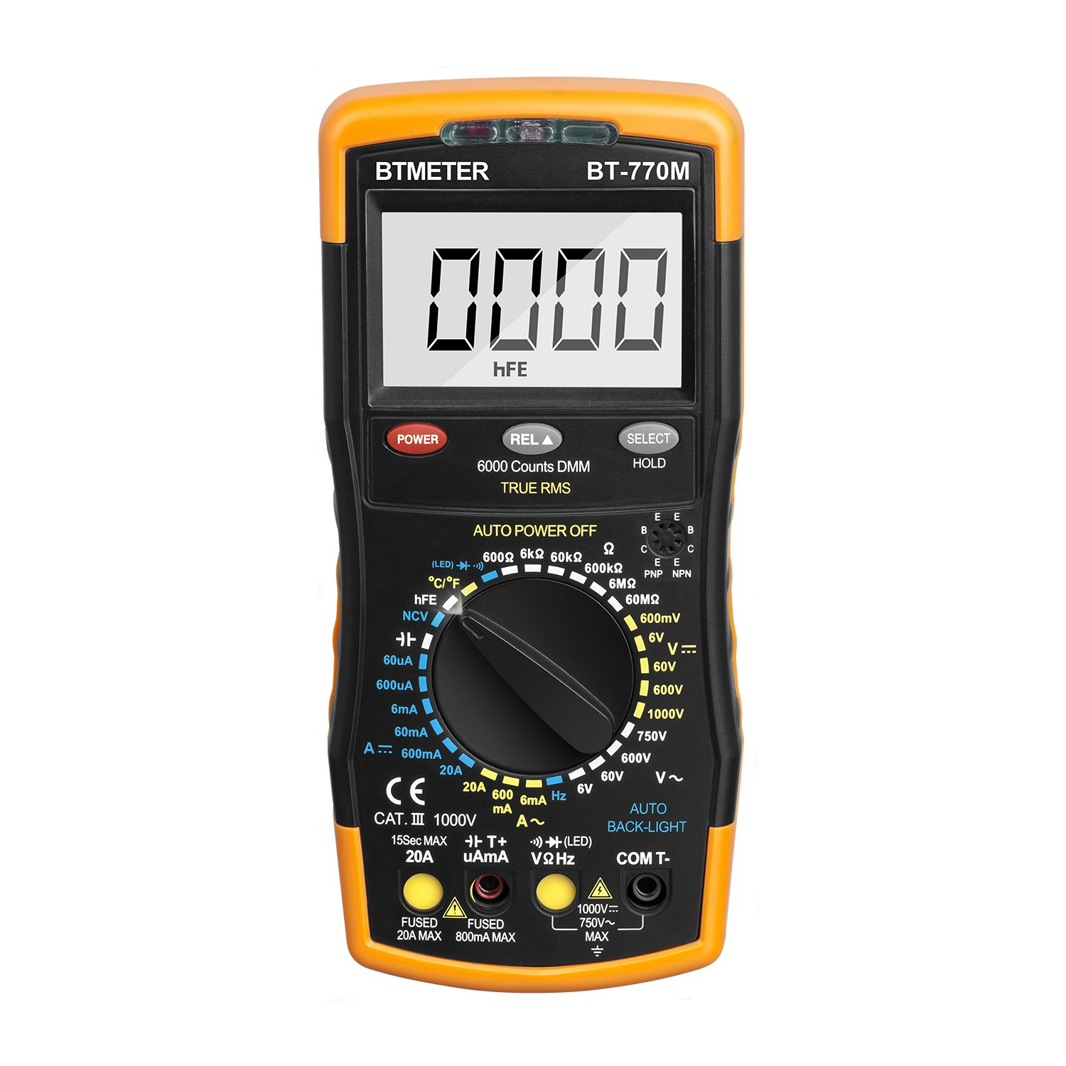 Multimeter BTMETER BT-770M Manual Range Digital Avometer Universal Meter 6000 Counts With Self-Locking Protection , NCV, Diode , AC & DC Voltage, AC & DC Current, Resistance, Capacitance by BTMETER