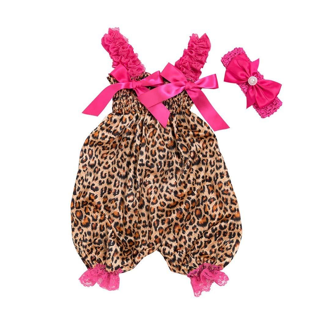 Beonzalez Set ni/ño beb/é ni/ño ni/ña Leopardo Mono Mono beb/é Estampado de Leopardo Linterna Honda Mono Mono Banda de Pelo de Dos Piezas