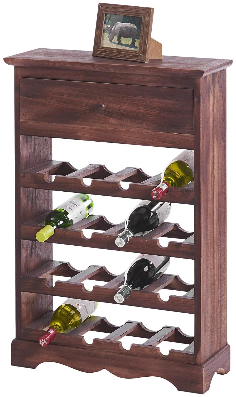 ts-ideen Cantinetta Portabottiglie in Noce Effetto Fiammato per 16 Bottiglie Completa di cassetto Porta Accessori