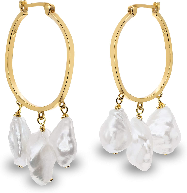 Pendientes de Mujer con Tres Perlas Cultivadas de Agua Dulce Barrocas Keshi Blancas de 9-10 y 11-12 mm SECRET & YOU - Diseño en Plata de Ley de 925 milésimas Bañada en Oro de 18 k