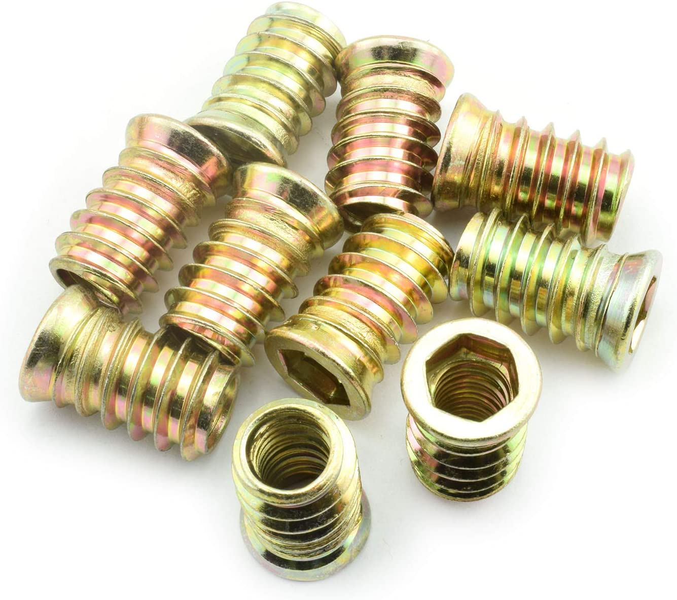 """LQ Industrial 30pcs 25mm Furniture Screw-in Nut Carbon Steel Color Zinc Plated Bolt Fastener Connector Hex Socket Drive Threaded Insert Nuts for Wood Furniture Assortment 3/8""""-16"""