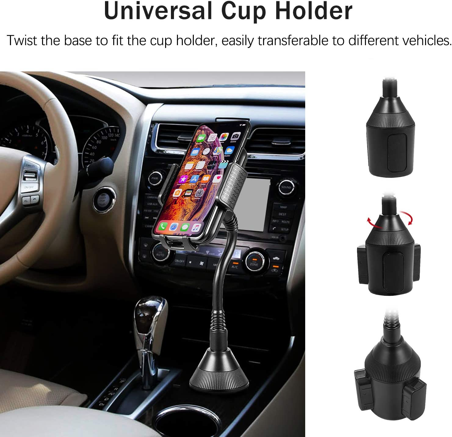 Huawei and More miadore Universal Car Cup Holder Phone Mount Cradle Compatible for iPhone Xs//XS MAX//XR//X//8//8Plus//7//7Plus Galaxy S7//S8//S9 Google Nexus