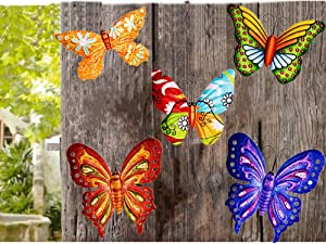 MIXUN 3D Metal Butterfly Wall Accents, Butterfly Wall Decor Sculpture Hang Outdoor Garden for Home, Bedroom, Living Room, Office, Garden